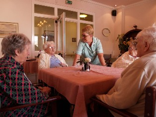 residents in dining room